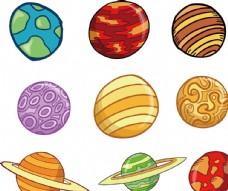 手绘卡通星球宇宙太空儿童插画