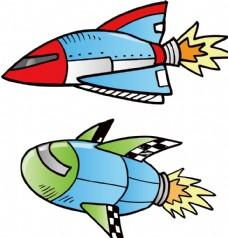 卡通飞机航空宇宙飞船儿童插画