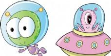卡通外星人宇宙飞船怪物儿童插画