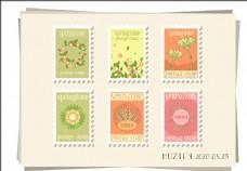 6款入花卉邮票标签