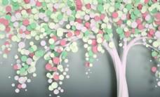 炫彩发财树 新中式背景墙