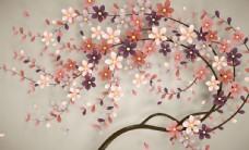 炫彩发财树新中式背景墙