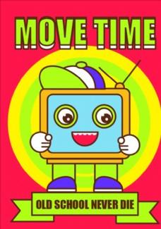 卡通电视机插画海报