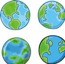 卡通手绘地球绿色星球儿童插画