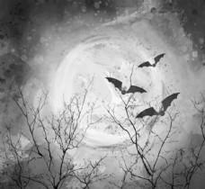彩绘夜晚枯树蝙蝠风景矢量素材