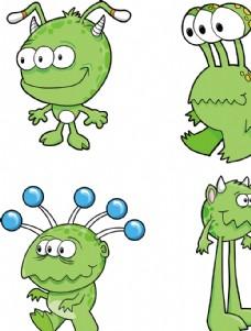 绿色卡通外星人宇宙太空儿童插画