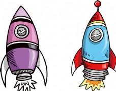 彩绘卡通火箭儿童插画元素