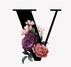 花 字母 V