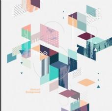 手绘几何图形背景插画设计AI图