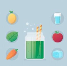 矢量果汁甜品食物素材