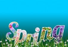 春天 文字 背景