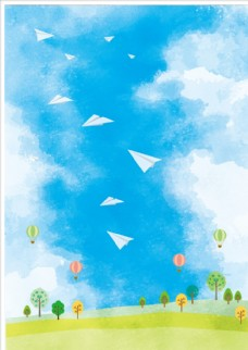 矢量清新卡通天空纸飞机背景