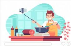 直播做饭的男子