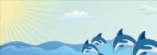 海豚 阳光 海平面 天空