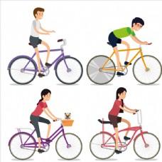 骑单车的年轻人