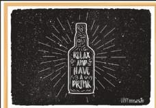 啤酒瓶粉笔画