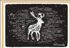 麋鹿 粉笔画