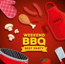 周末烧烤派对海报