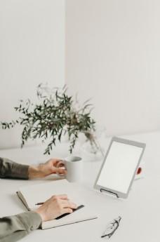办公商务屏幕空白平板笔记本背景