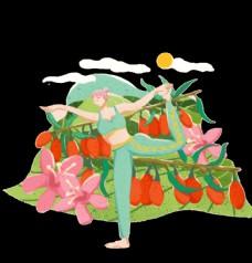 花朵枸杞抠图