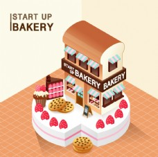 蛋糕店铺插画