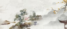 山水古风桃花中国风背景素材