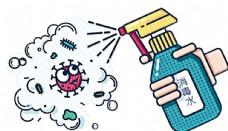 卡通消毒喷雾预防新冠状病毒肺炎