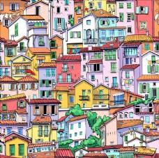 无缝房屋插画