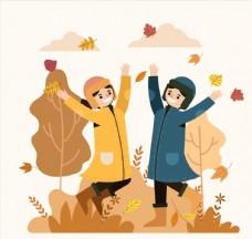 创意秋季跳跃男女