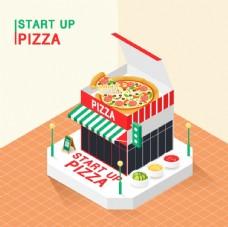 披萨店铺插画