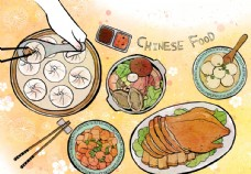 中国传统美食文化插画