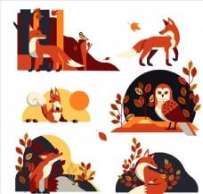 创意秋季动物