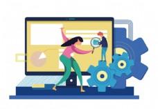 机器科技扁平化插画