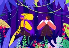 森林中探险的人物