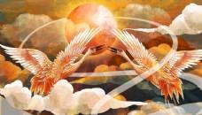 古风中国风国潮仙鹤云朵云层手绘