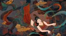 敦煌壁画古风传统墙画艺术仙女