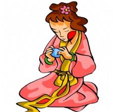 古代手繪女人喝茶