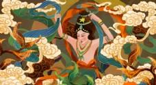 敦煌壁画古风传统墙画艺术背景