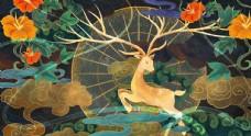 敦煌壁画古风传统墙画艺术神鹿