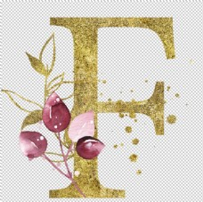 手绘水彩花卉英文字母logo