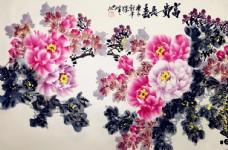 洛阳著名牡丹画家王跃峰国画牡丹