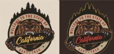 棕熊创意图案印花插画设计