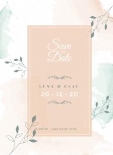 彩绘花朵装饰结婚邀请卡