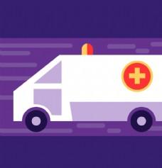 卡通救护车插画