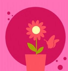 卡通花朵插画