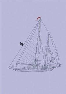 线条 帆船 船
