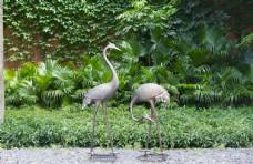 仿铜仙鹤雕塑 园林水池景观设计