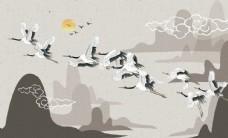 中式仙鹤水墨山水背景墙