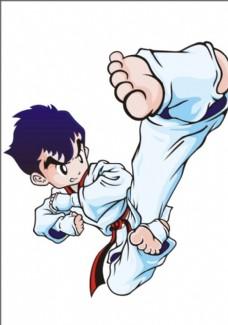 跆拳道卡通人物 卡通 动作人物